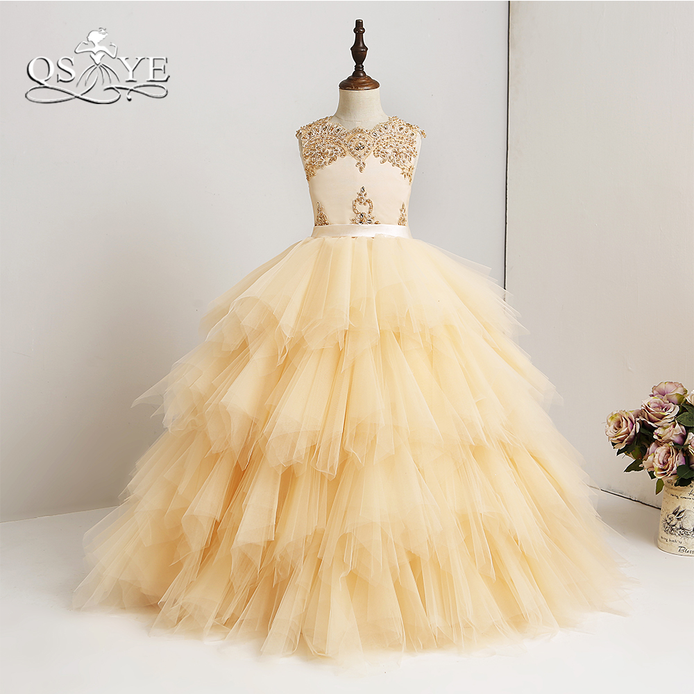 QSYYE 2018 New Arrival   Flower     Girl     Dresses   High Quality Made Lace Beaded Ruffles Tulle   Girl   Prom   Dress   Pageant Gown