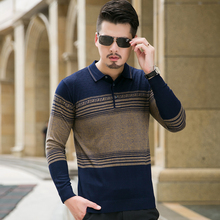 8XL plus Size Mens Sweater 2017 New Winter Warm Wool Sweater Men Long Sleeve Turn Down Collar Knitted Polo Pullovers Men 3Colors
