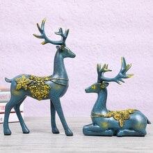 Creative Home Decor Craft Living Room Desktop Decoration Office Decorative Animal Elk Resin Deer Figurine Ornaments Miniatures