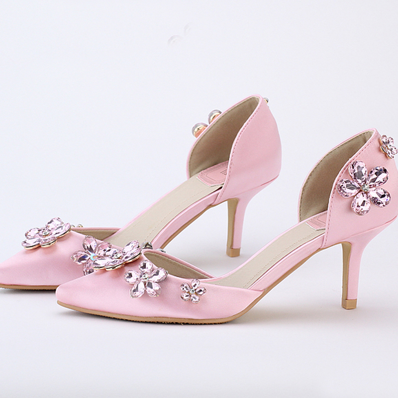 2016 Beautiful Wedding Shoes Pointed Toe Pink Color Satin Dresses ...