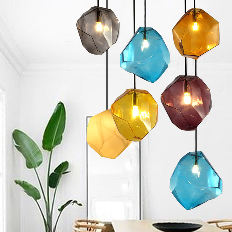 Modern Design Candy Color Ice Glass Lighting Ceiling Hanging Lamp Pendant Lighting Cafe Bar Store Hall