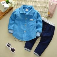 BOHUANA 2017 Autumn Baby Boys Clothes Sets Gentleman Style Male Children Suits Lapel Shirt Pants Infant