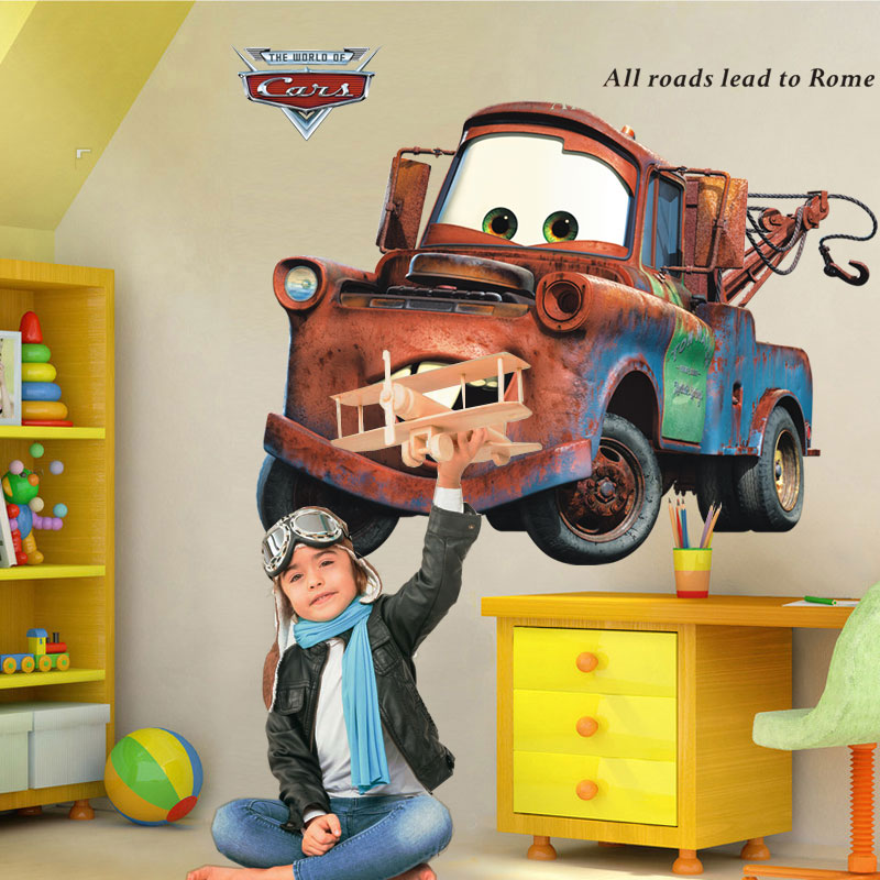 60*90CM pixar car Mater wall stickers for kids room All Roads Lead to Rome quote vintage decals boy cartoon truck vinyl mural