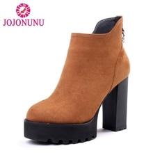 JOJONUNU Для женщин из натуральной кожи ботильоны на высоком каблуке На прозрачной платформе полусапожки На зимнем меху теплая обувь женская обувь размер 34–39