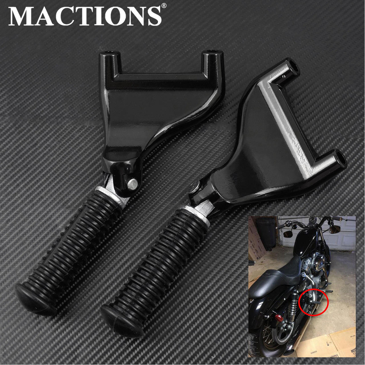 Motorcycle Black Rear Passenger Footpeg Foot Pedal Mount Kit For Harley Sportster XL1200X 883 Iron 48 72 XR 2004-2013