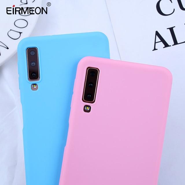 Dulces fundas a color para el modelo Samsung Galaxy A7 2018 caso de la cubierta del teléfono para Samsung Galaxy S10E S10 S8 S9Plus A5 A7 2017 A8 A6 Plus 2018