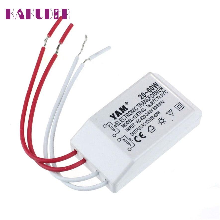 KAKUDER AC 220V To 12V 20-60W Halogen Light LED Driver Power Supply Lighting Transformer l70302 DROP SHIP