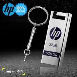 Hp флешка 32 ГБ, 64 ГБ и 128 Гб USB Flash Drive USB3.0 16 ГБ  флешки бесплатно металлический шнурки Memory Stick DIY логотип диск на ключе флешки