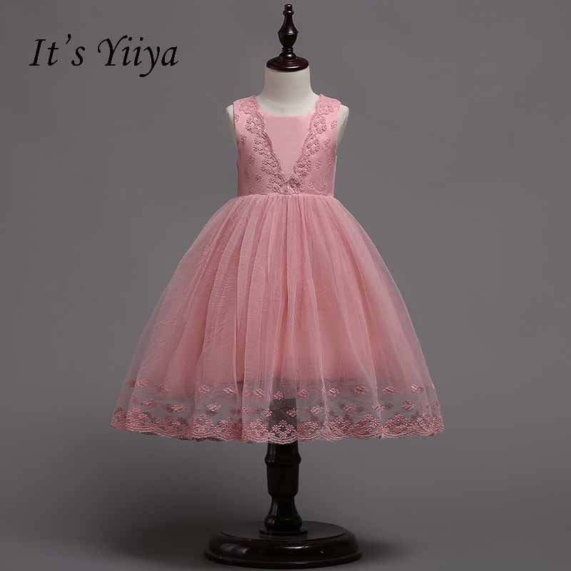 It's yiiya Lace Zipper   Flower     Girl     Dress   Simple Kid Child Clothing Princess Ball Gown   Dress   For Party Wedding   Girl     Dresses   S233