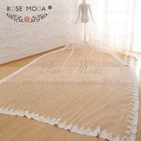 Custom Made 500cm Cathedral Veil with Sequined Lace Hem Soft Tulle Bridal Veil White Ivory