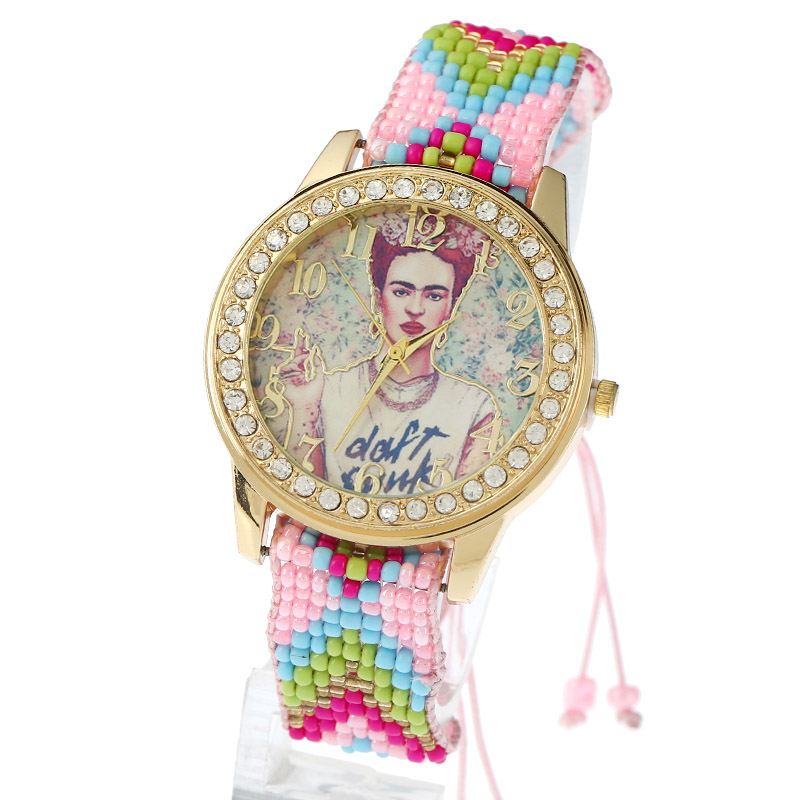 Women Watch Chaquira Lace Bracelet Ethnic Frida Punk Rhinestone Geneva Style crystal fashion quartz wristwatch reloj femme B205 8 ethernet relay network switch point dynamic delay tcpudp module controller local button
