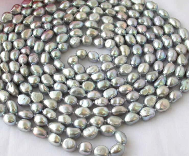 Wedding Woman Jewelry 100inch 9-12mm Gray Baroque Pearl Long Necklace Natural Freshwater Pearl Handmade Gift natural pearl necklace four strands pearl jewelry 18 inches 3 9mm white freshwater pearl necklace wedding party woman gift