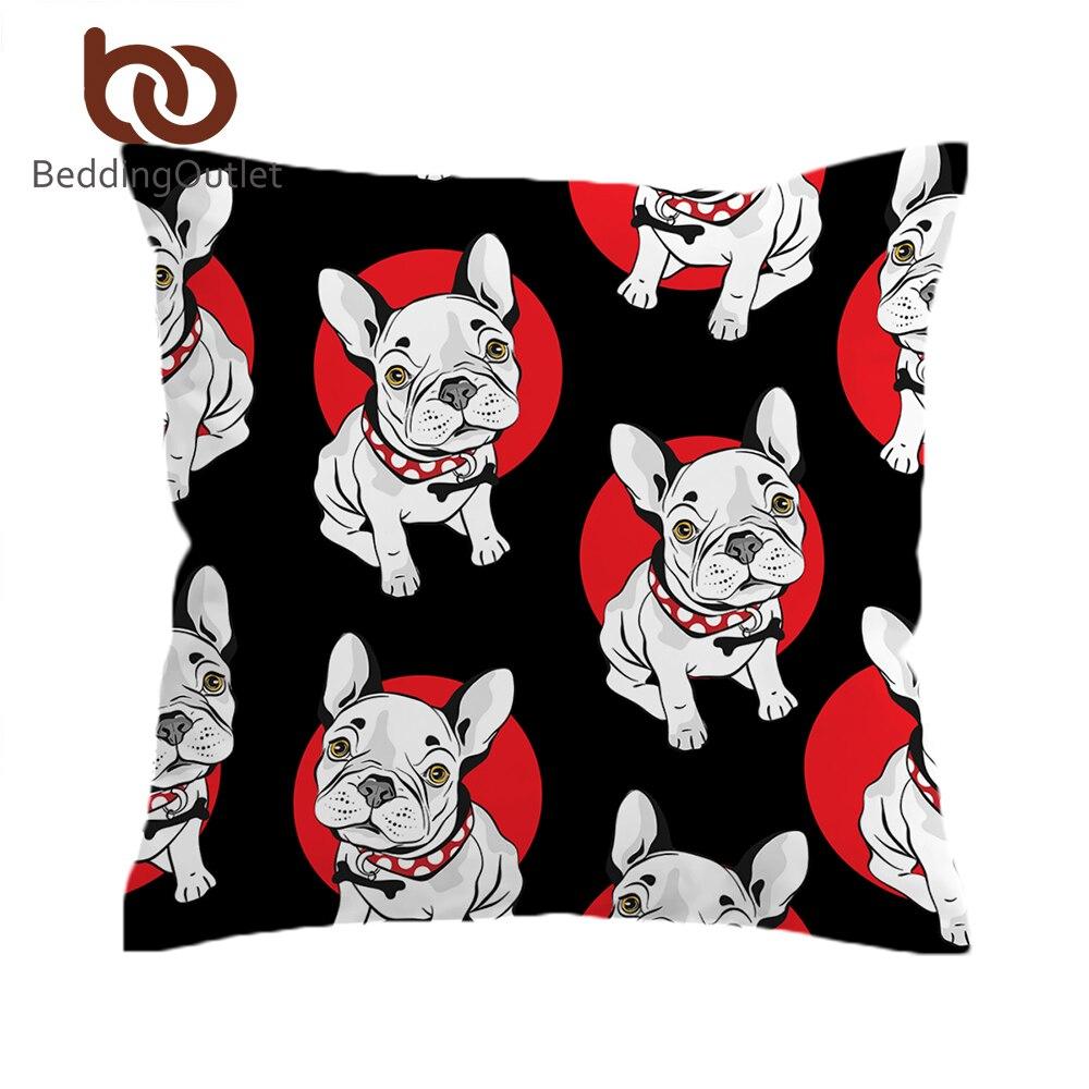 BeddingOutlet Bulldog Cushion Cover Black and Red Pillow Cover Animal Print Cartoon Dog Decorative Pillowcase for Sofa Seat