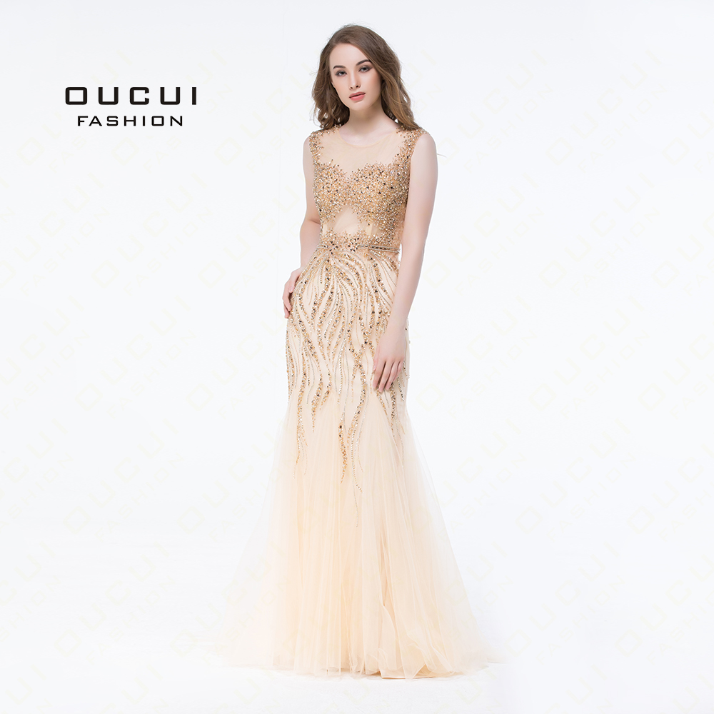 Gold Color Party Gown Graceful Beading Handmade Sleeveless Tulle Floor Length Long Mermaid   Evening     Dress   Prom OL103050