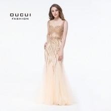 Gold Farbe Party Kleid Graceful Perlen Handgemachte Ärmellose Tüll Bodenlangen Lange Meerjungfrau Abendkleid Prom OL103050