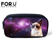 FORUDESIGNS Women Professional Makeup Bag Cute Cat Dog Galaxy Space Pencil Case Bags Pen Pouch for Children Girls Boy Organizer