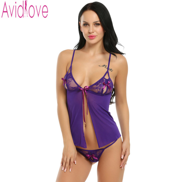 59f2a183b Avidlove Mulheres Babydoll Lingerie Sexy Hot Erotic Lingerie Transparente  Rendas Babydoll Vestido de Roupa de Dormir