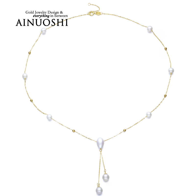 AINUOSHI 18K Yellow Gold Natural Cultured Freshwater Pearl font b Pendant b font font b Necklace