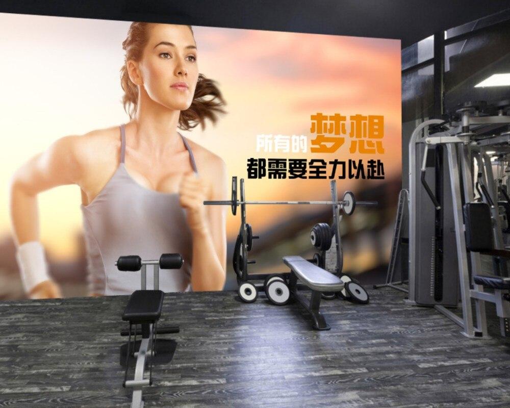 Free Shipping Gym Custom 3D Wallpaper Modern Simple Running Beauty Dream Inspirational Gym Mural Sports Ground Wallpaper