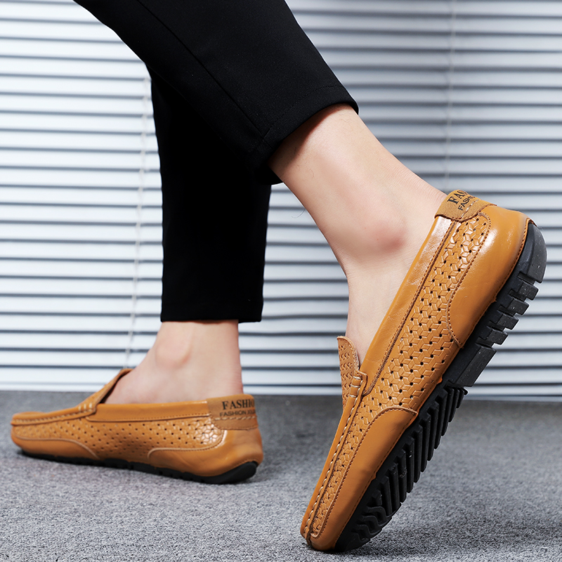 HTB1E2UYMZfpK1RjSZFOq6y6nFXaK Summer Men Shoes Casual Luxury Brand Genuine Leather Mens Loafers Moccasins Italian Breathable Slip on Boat Shoes Black JKPUDUN