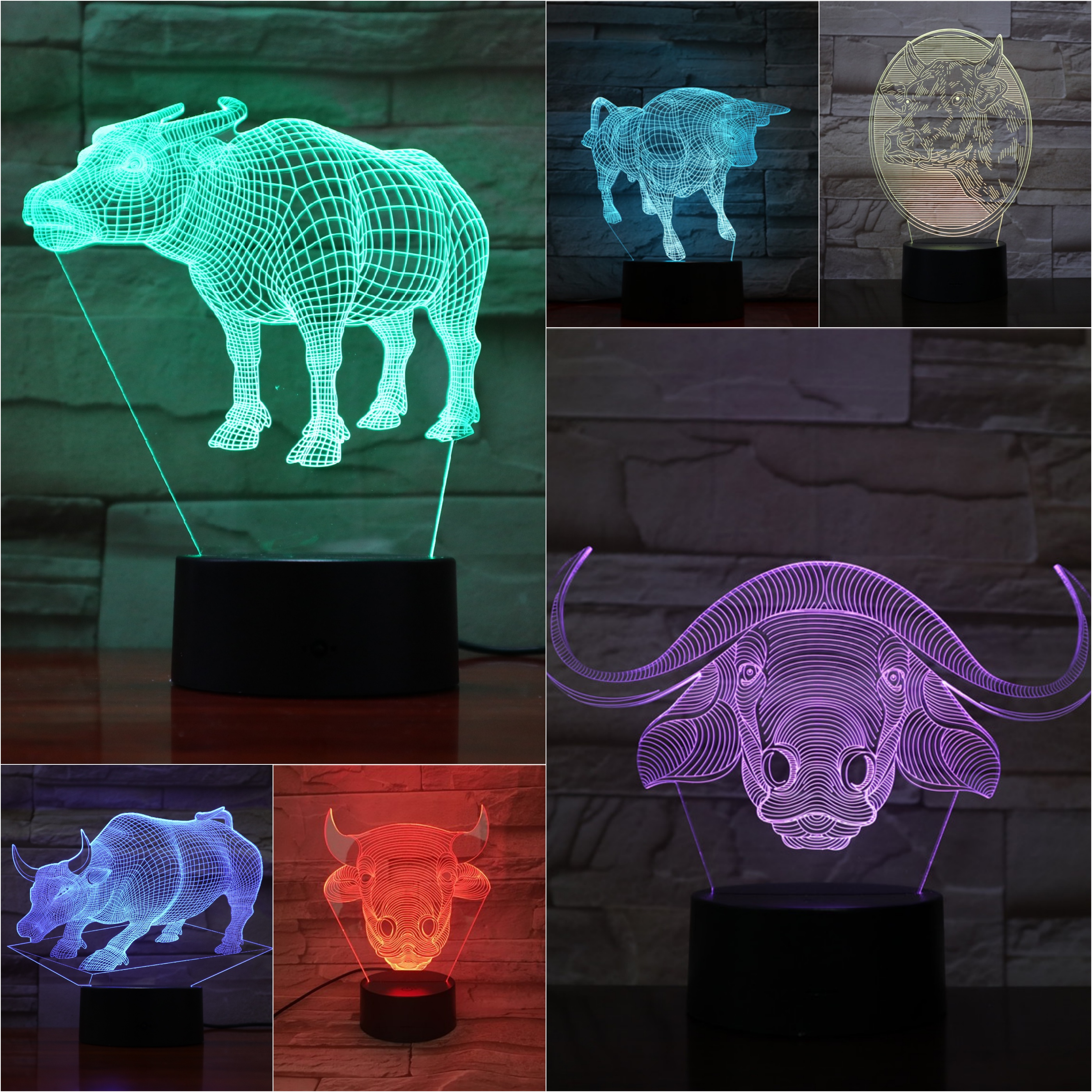 Animal Cattle Night Light Led 3d Illusion Lampara Neat Decorative Lamp Bull Child Kids Baby Kit Ox Table Bedroom Bossy