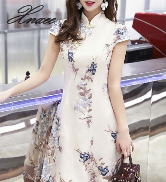 Dress 2019 new summer female fashion Chinese style-in Dresses from Women's Clothing    1
