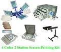 Envío libre descuento conjunto completo de 4 colores 2 estación de pantalla t-shirt de impresión de la impresora kit de prensa de flash secadora expsoure