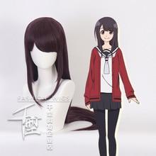 Anime Senryu Girl Yukishiro Nanako Cosplay Costume Wig Anime Hair Dark purple +wig Cap