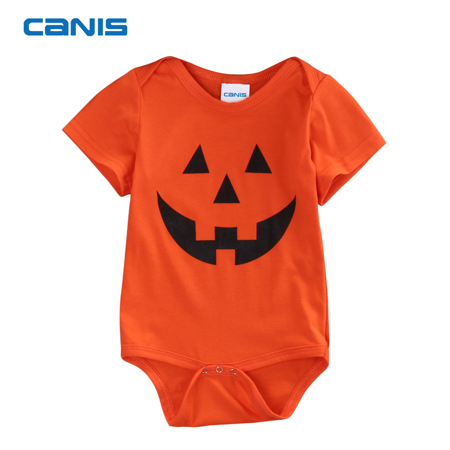 Toddler Baby Boy Girl Short Sleeve Jumpsuit Halloween Pumpkin Infant Short Sleeve Romper Jumpsuit
