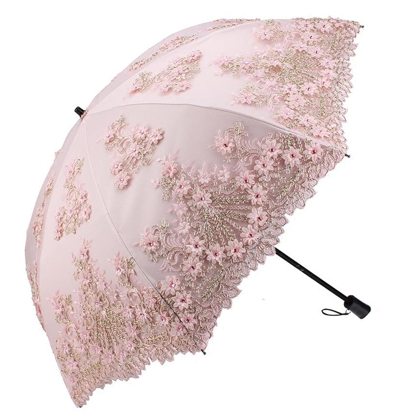 Double Protection solaire parapluie Protection UV dentelle fleur broderie parapluie pluie femmes mini parapluie pliant Double usage parasol