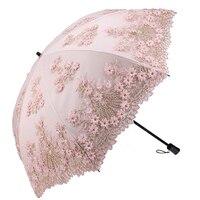 Double Sunscreen Umbrella UV Protection Lace Flower Embroidery umbrella rain women mini umbrella Folding Dual use Sun Umbrella