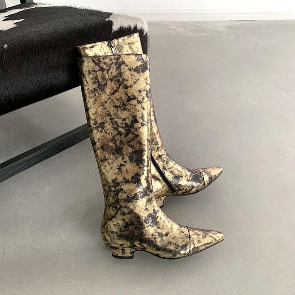 Sexy Chevalier Haute Longues Couleur golden Motif Métal Cuir As Bottes Nouveau Femmes Hiver Show Éclatement 2018 Genou Véritable Or En Plat A4S5WTq