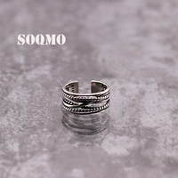 SOQMO 925 Sterling Silver Open Rings for Women Men Party Gift Thai Silver Ring Simple Fashion Classic Jewelry SQM052