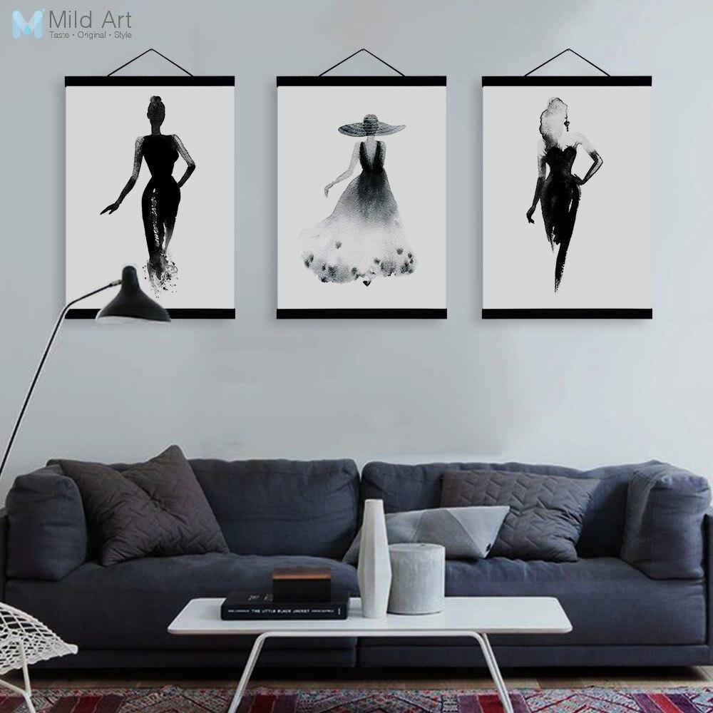 Black White Fashion Model Wooden Framed Canvas Paintin Modern ...
