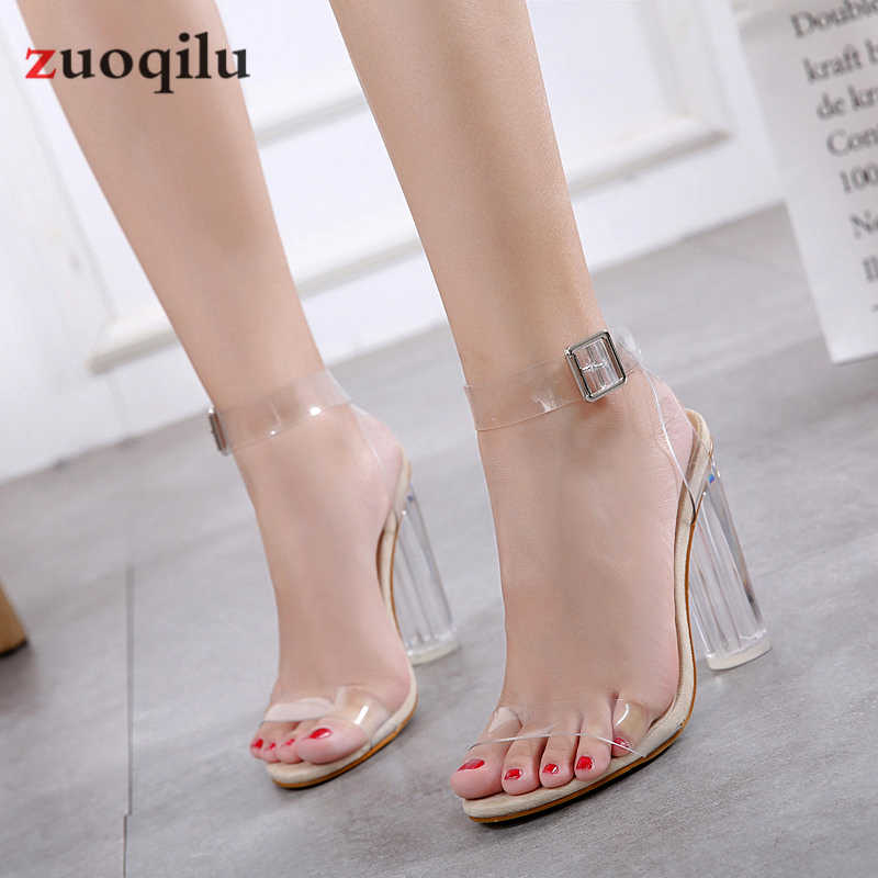PVC Transparent Heels Shoes Peep Toe Thick Heels Women Shoes Lady Wedding Shoes Sandalia Feminina 2019 Plus SIZE