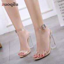 PVC Transparent Heels Shoes Peep Toe Thick Heels Women Shoes