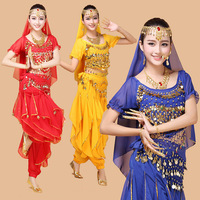 2015 New 4pcs Set Belly Dance Costume Bollywood Costume Indian Dress Bellydance Dress Womens Belly Dancing