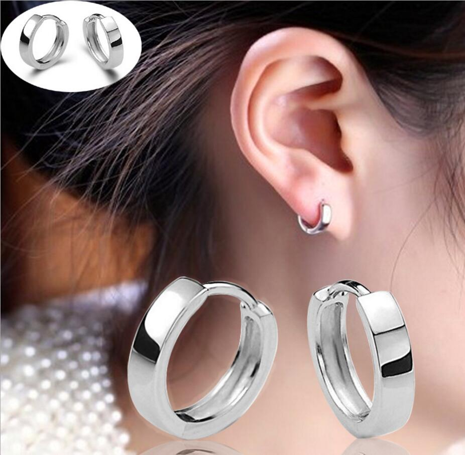 Hot 925Sterling Solid Silver Jewelry Bright Circle Hoop Earrings For Women E020
