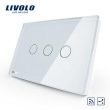 Smart livolo переключатель, стандарт США/AU, VL-C303SR-81, 3-ган 2-way дистанционный сенсорный светильник переключатель, с украшением в виде кристаллов Стекло Панель, светодиодный индикатор