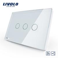 Smart Livolo Switch US AU Standard VL C303SR 81 3 Gang 2 Way Remote Touch Light