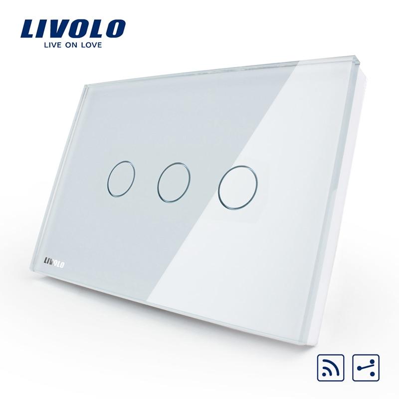 Intelligent livolo interrupteur standard des USA/AU, VL-C303SR-81, 3 gang 2 voies Télécommande Interrupteur Tactile, Panneau de Verre En Cristal, indicateur LED