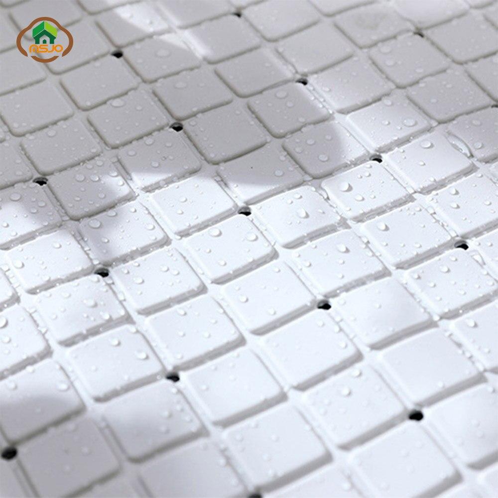 MSJO Anti slip Shower Mat Bath Bathroom PVC Sucker Floor Bathroom Rugs Carpet Grid Design Soft Drain Bathtub Shower Kid Bath Mat in Bath Mats from Home Garden