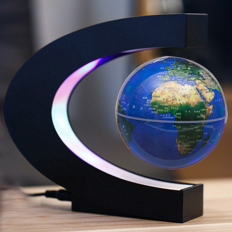 C-shaped Magnetic Suspension Montessori Geography Earth Floating World Map LED Light Children Learning Toys Geography Teaching