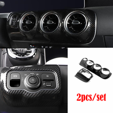 ABS Plastic Chrome for Mercedes Benz A Class 2019 Headlamps Switch Central Control Air Condition outlet Vent frame Covers Trim chrome hood vent trim covers for mercedes benz w164 ml class free shipping
