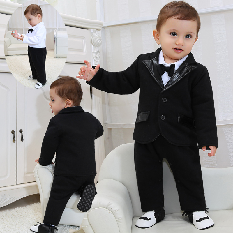 2018 New Born Baby Clothes Gentleman Boys Clothes Black Suit Coat+Bowknot+Romper 2 Pcs Baby Boy 1 Year Birthday Clothing Sets