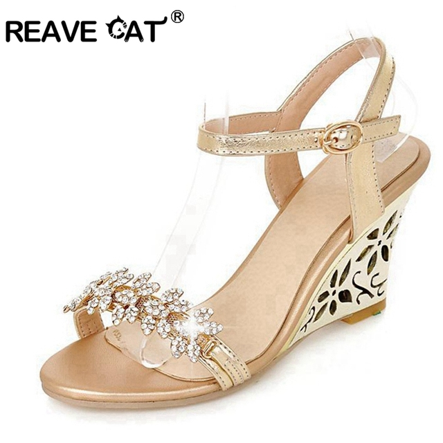 REAVE CAT New arrival Glittering Fashion Fretwork Heels Wedges sandals Rhinestone Silver Gold Summer sandals Sexy Sale QL4277