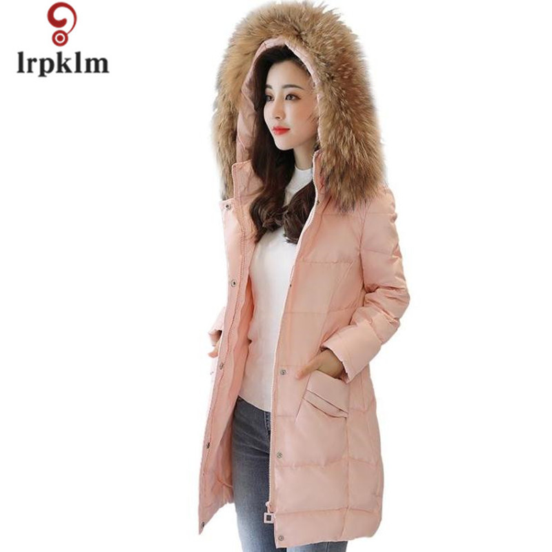Pink Winter Lady Cotton  Coat 3XL Large Size 2017 New In The Long Section Of Large Hair Collar Thick Warm  Women Parkas LZ647 sky blue cloud removable hat in the long section of cotton clothing 2017 winter new woman