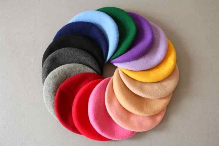 Модные однотонные шерстяные зимние женские береты для девочек, шапки, шапка s, французский артист, шапка, Лыжная Шапка Кепка для женщин, модные аксессуары