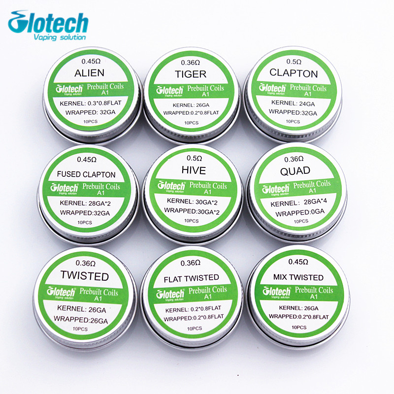 Glotech Alien Tiger Fused Clapton premade coils Hive twisted Mixed twisted prebuilt coil for RDA RBA RTA Atomizer DIY vaporizer original geekvape 6 in 1 coil pack for diy atomizer alien alpha braid fused clapton tidal coil rda rta rdta atomizer coil