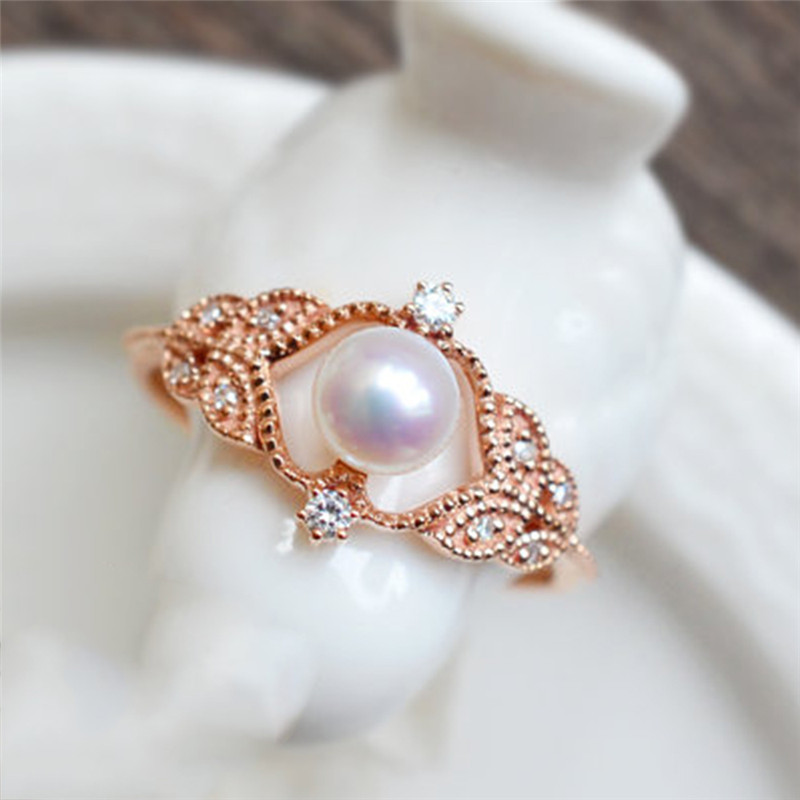 Romad New Arrivals Special Rose Gold Rings Women Round Imitation Pearls Hollow Engraved Wedding Rings Party Jewelry Gift Z3